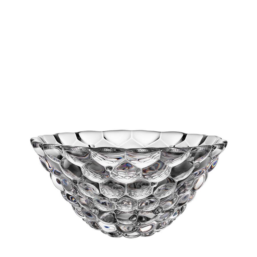 "Orrefors Crystal, Raspberry 7 1/2"" Crystal Bowl"