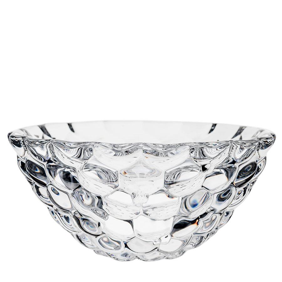 "Orrefors Crystal, Raspberry 8 1/4"" Crystal Bowl"
