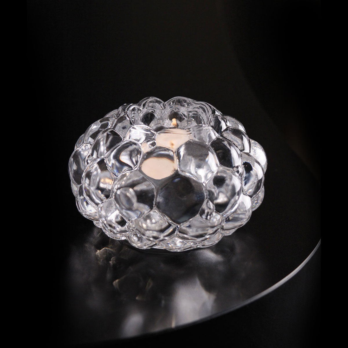 Orrefors Raspberry Crystal Large Votive, Single