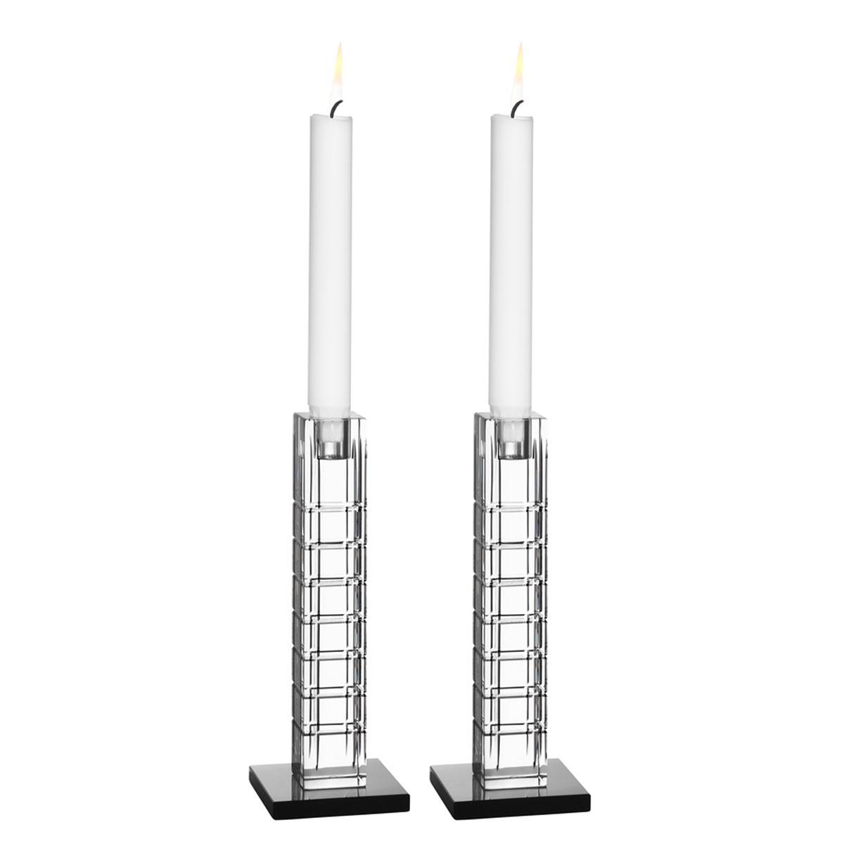 "Orrefors Crystal, Street 7 1/2"" Crystal Candleholder, Pair"