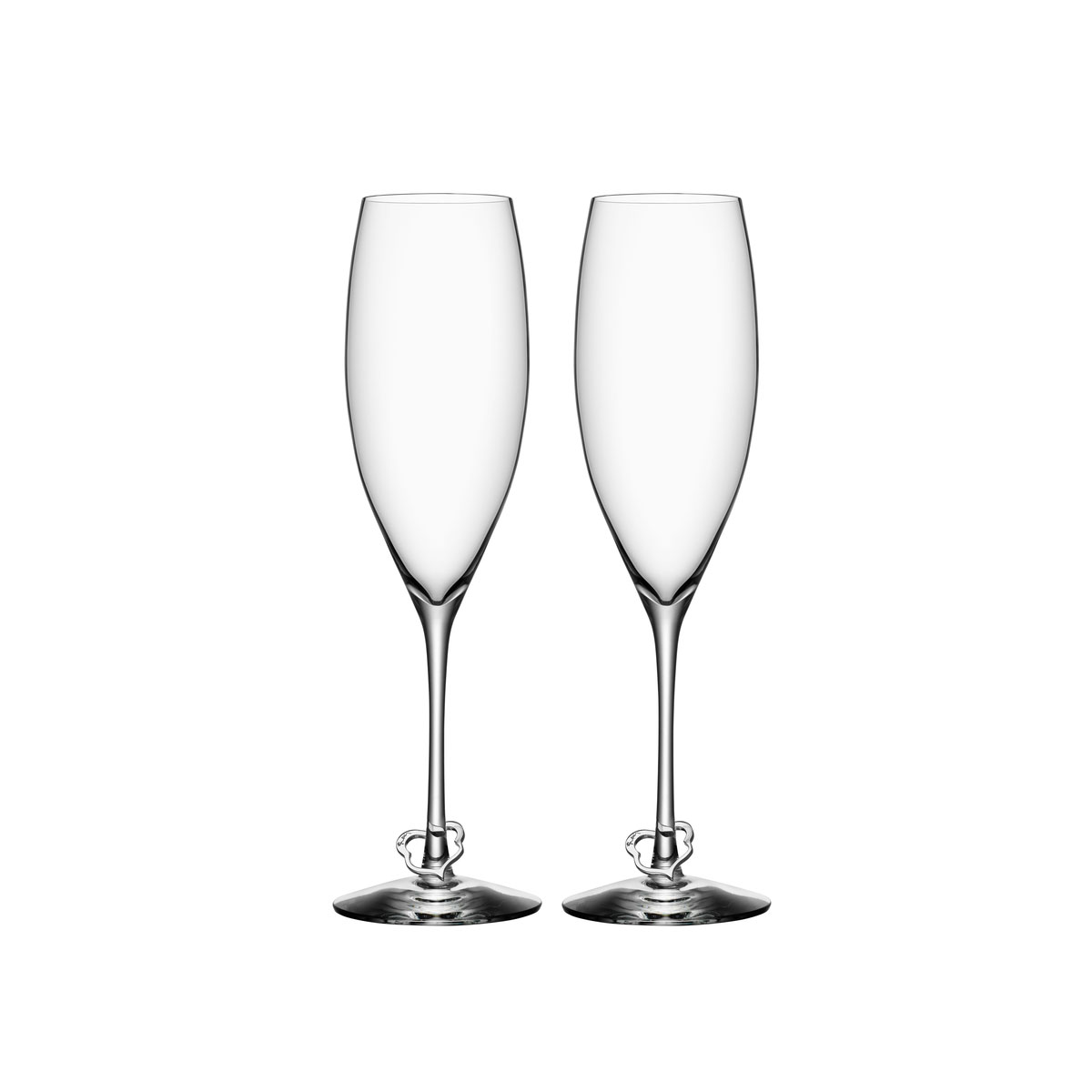 Orrefors Crazy Heart Champagne Flutes, Pair
