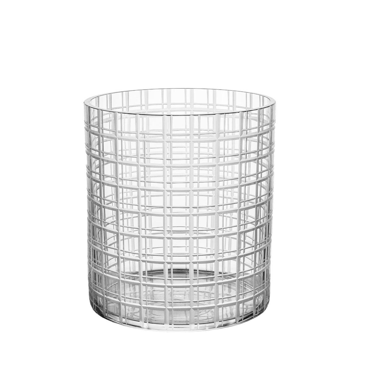 "Orrefors Cut In Number Checker 8"" Vase Medium"