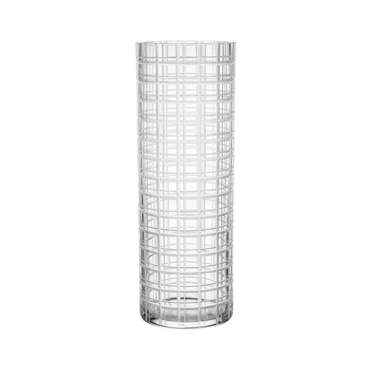"""Orrefors Cut In Number Checker 13"""" Vase Large"""