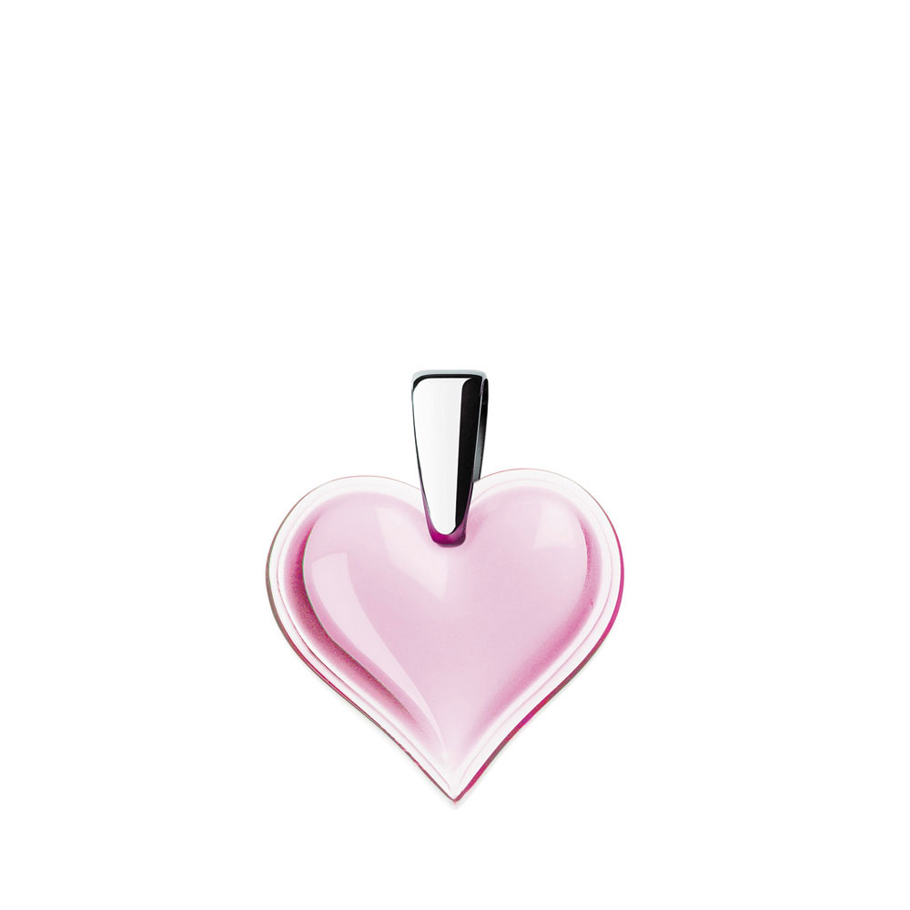 Lalique Crystal Amoureuse Beaucoup Heart Pendant, Pink