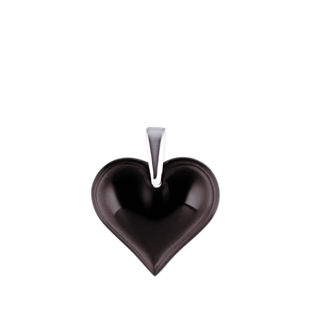Lalique Crystal Amoureuse Beaucoup Heart Pendant, Black