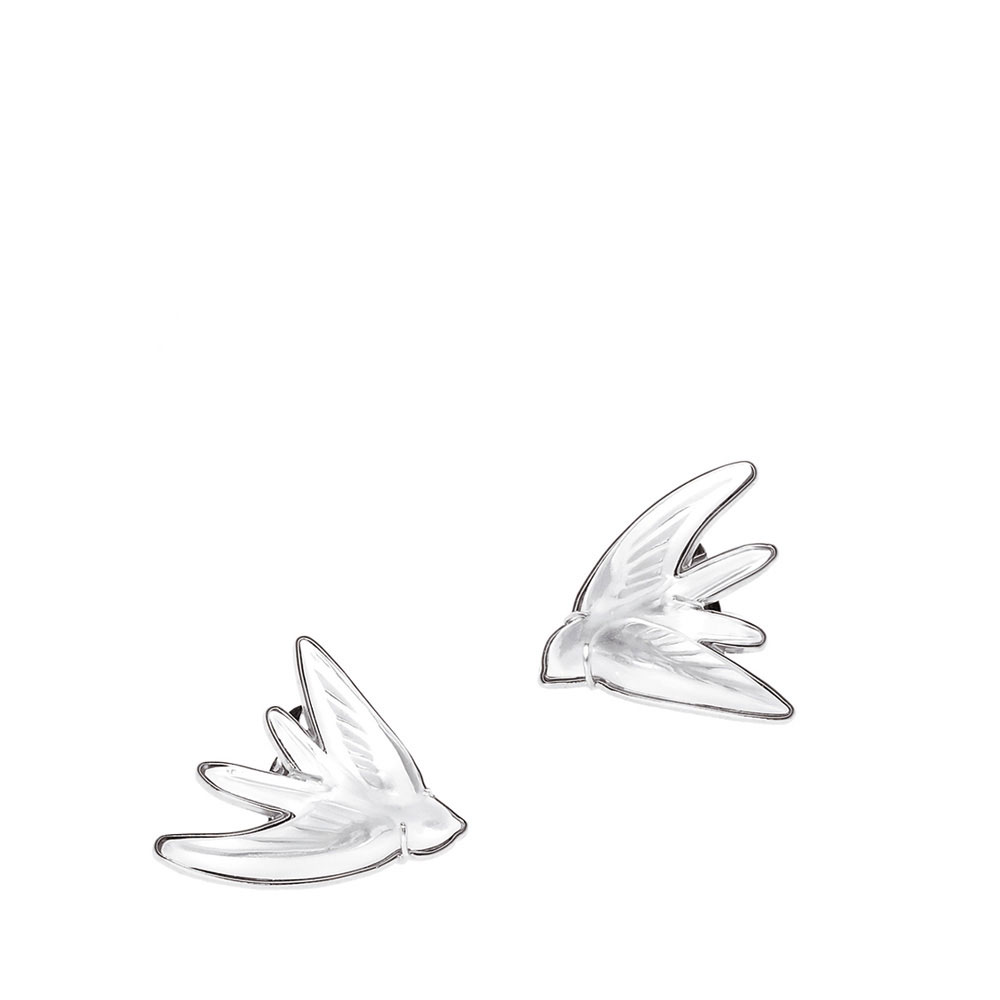 Lalique Crystal Hirondelle Clip On Earrings, Clear