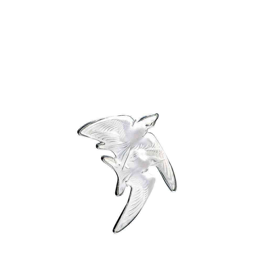 Lalique Crystal Hirondelles Brooch, Clear