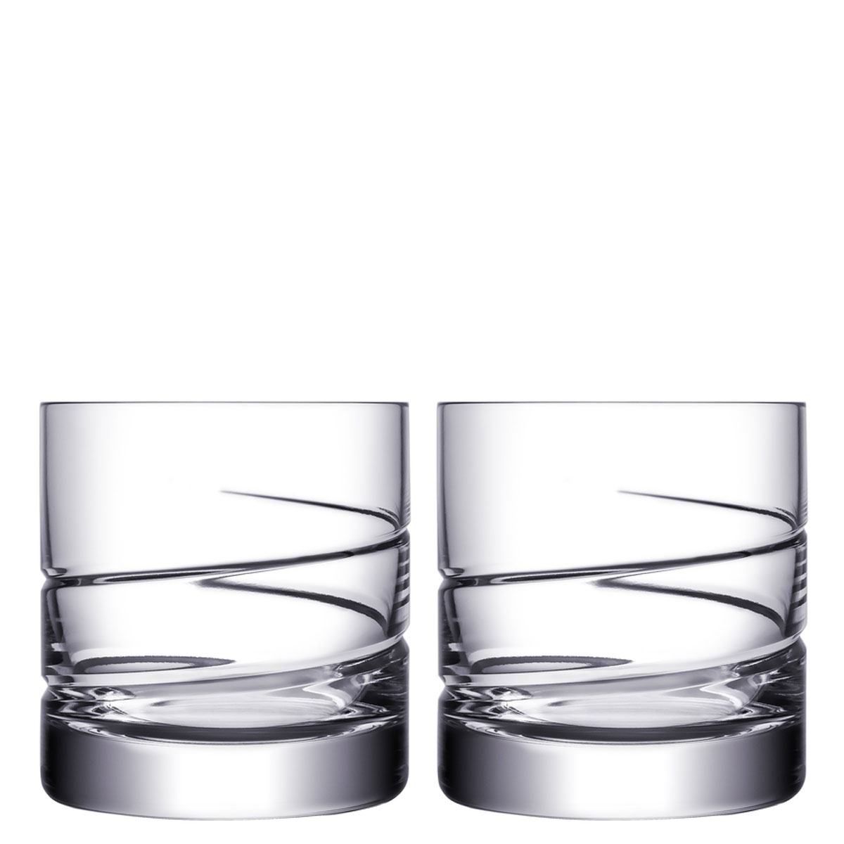 Orrefors Crystal, Swerve Crystal Double Old Fashion, Pair