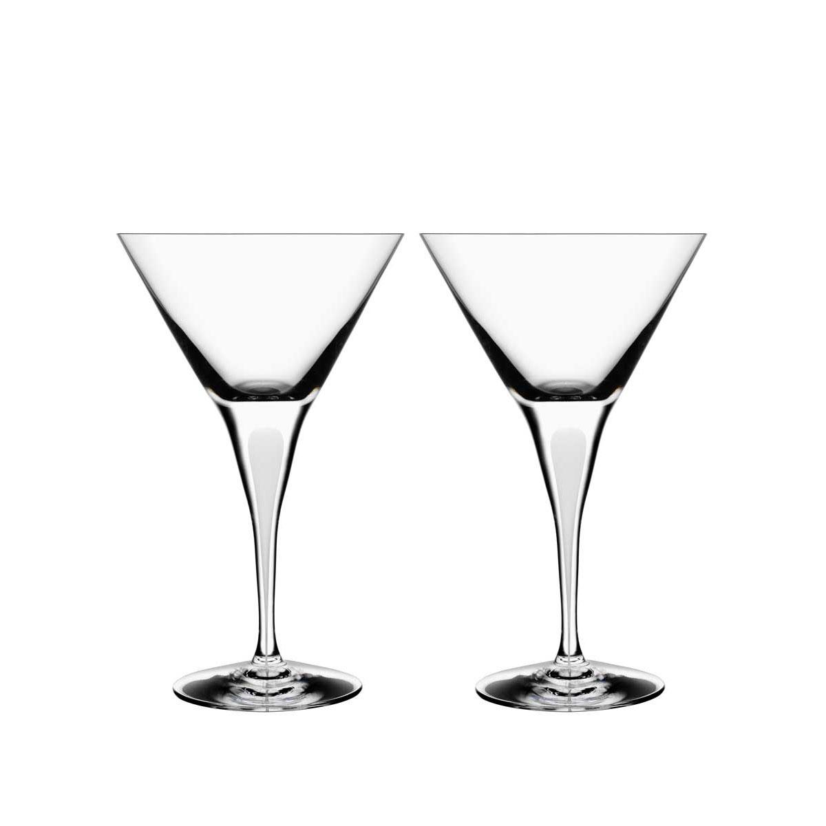 Orrefors Crystal, Intermezzo Satin Crystal Martini, Pair