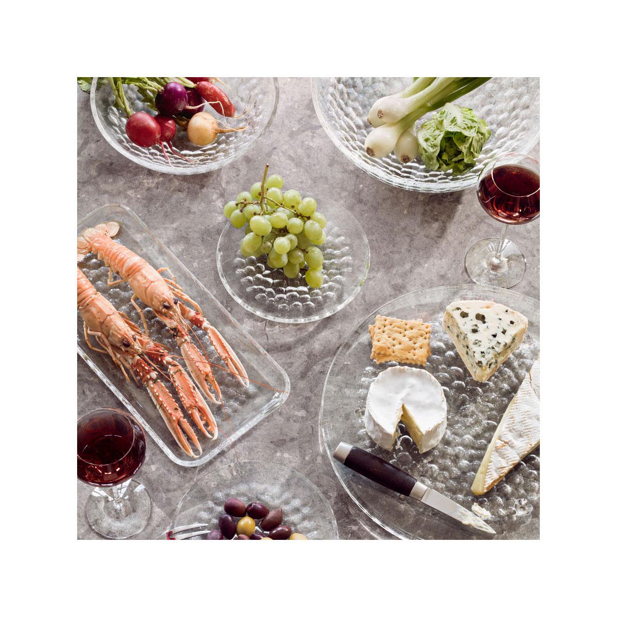 Orrefors Crystal, Pearl Dessert Plates, Set of Four