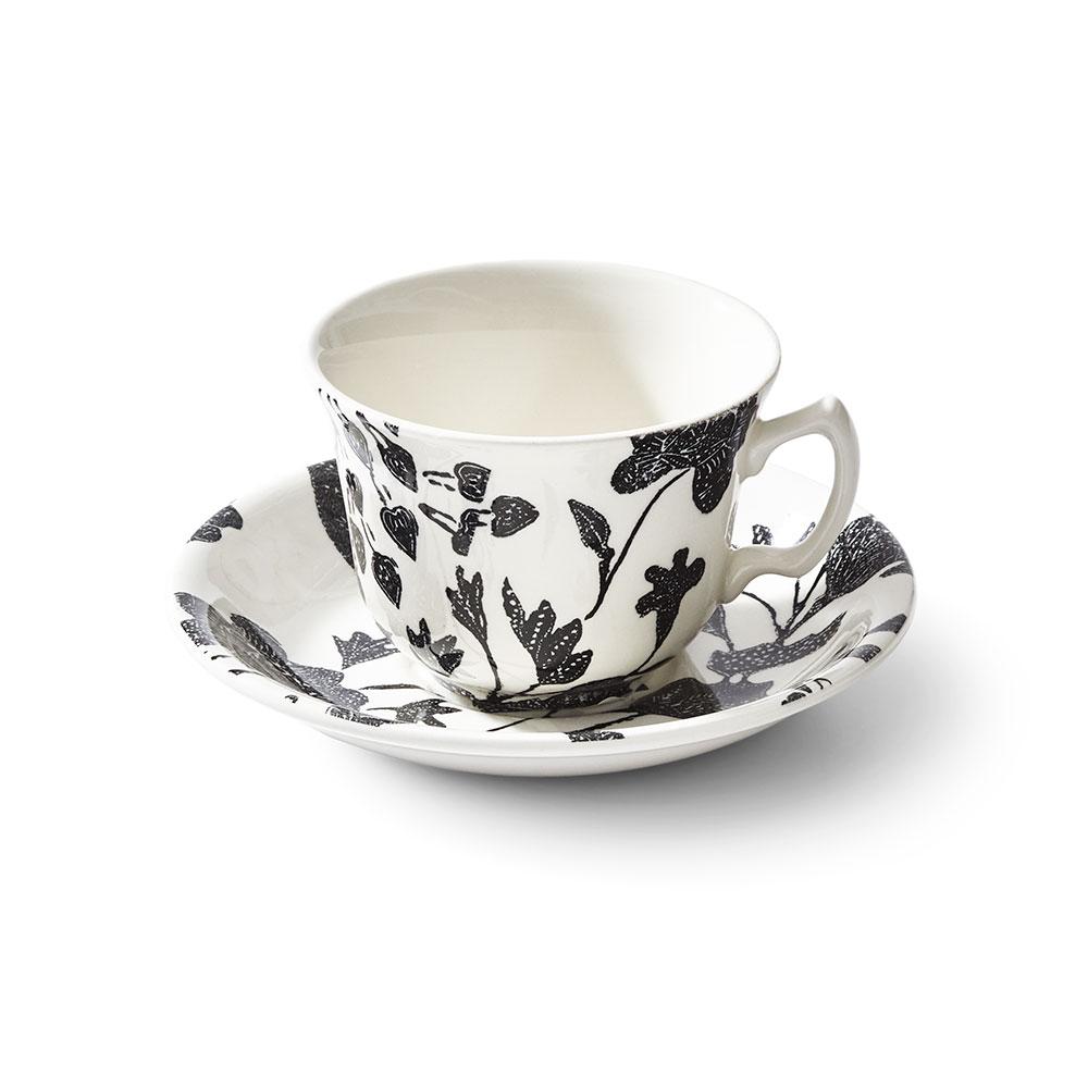 Ralph Lauren China Garden Vine Tea Cup and Saucer, Black