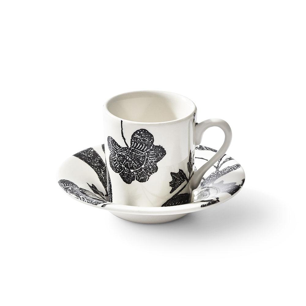 Ralph Lauren China Garden Vine Espresso Cup and Saucer, Black
