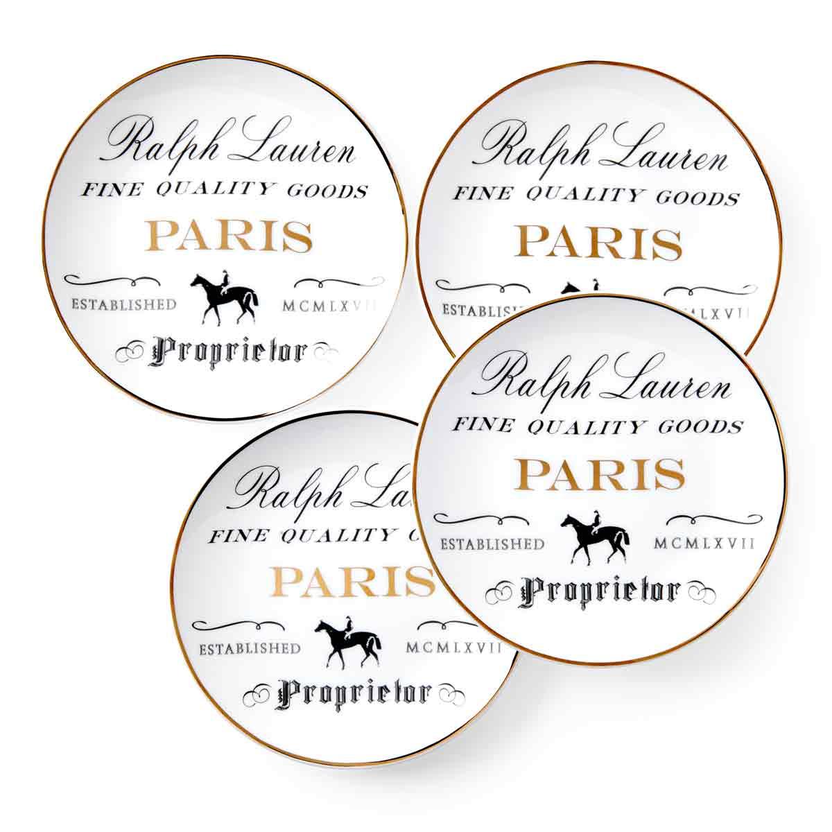 Ralph Lauren China RL Paris, Set of Four Canape Plates