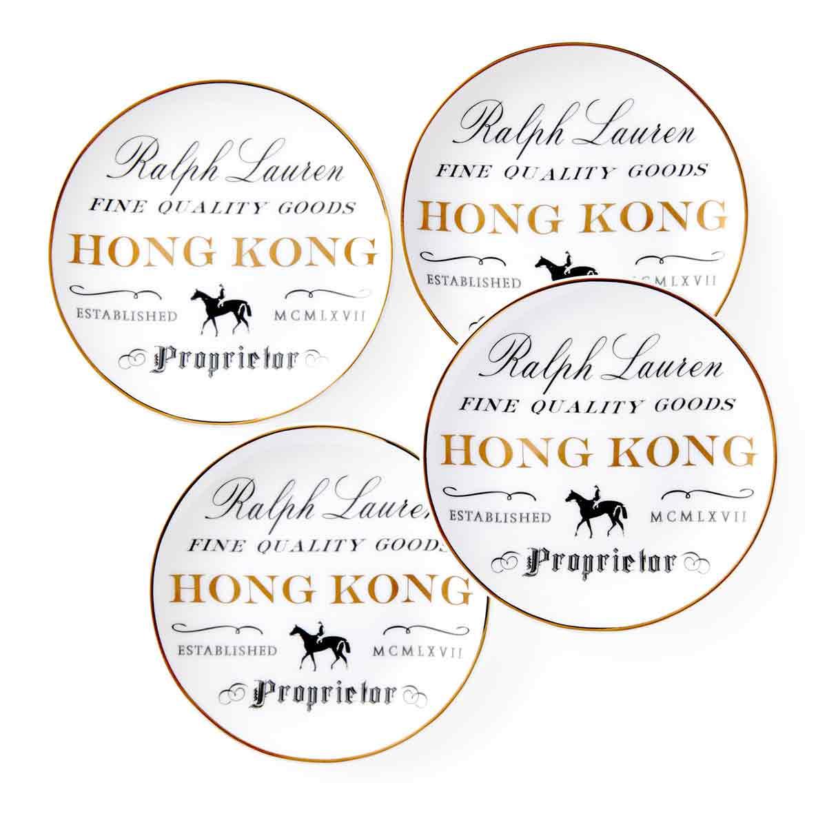 Ralph Lauren China RL Hong Kong, Set of Four Canape Plates