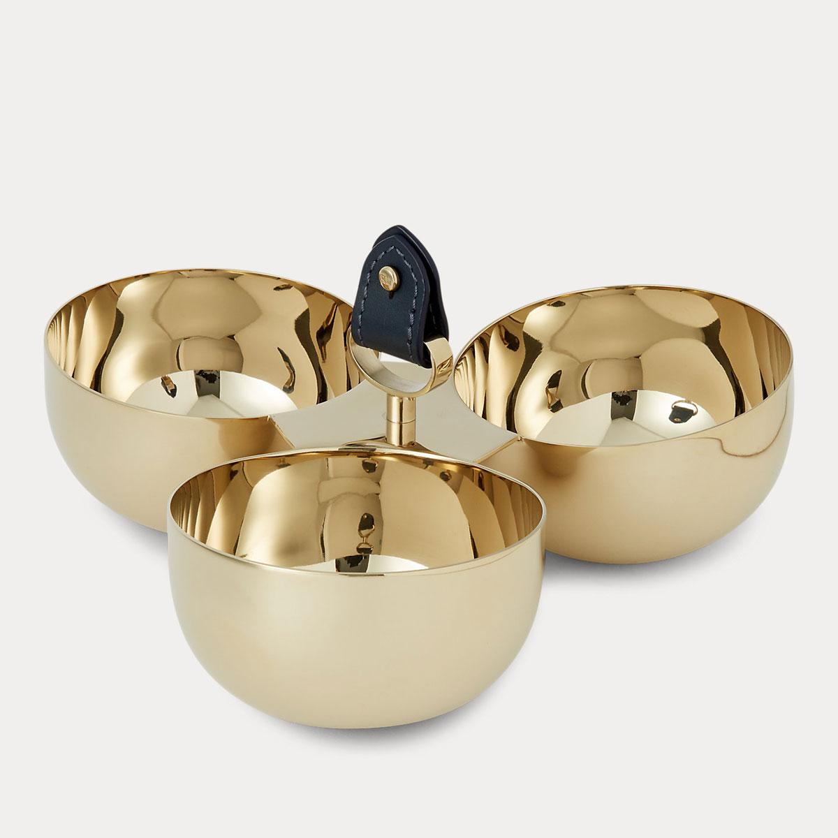 Ralph Lauren Wyatt Triple Nut Bowl, Navy and Gold