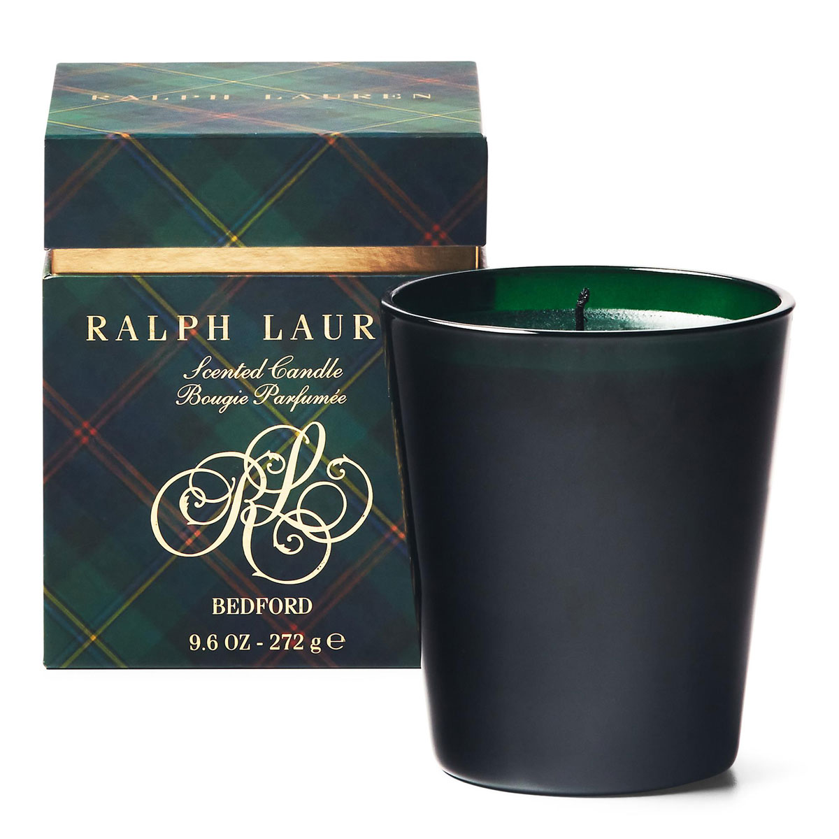 Ralph Lauren Bedford Green Plaid Single Wick Candleholder