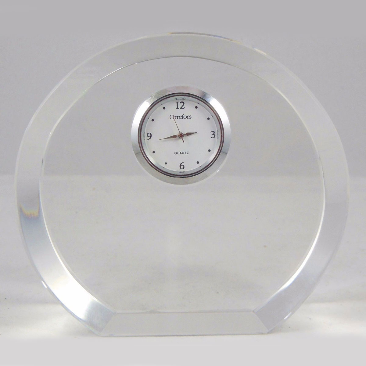 Orrefors Crystal, Vision Clear Round Desk Crystal Clock