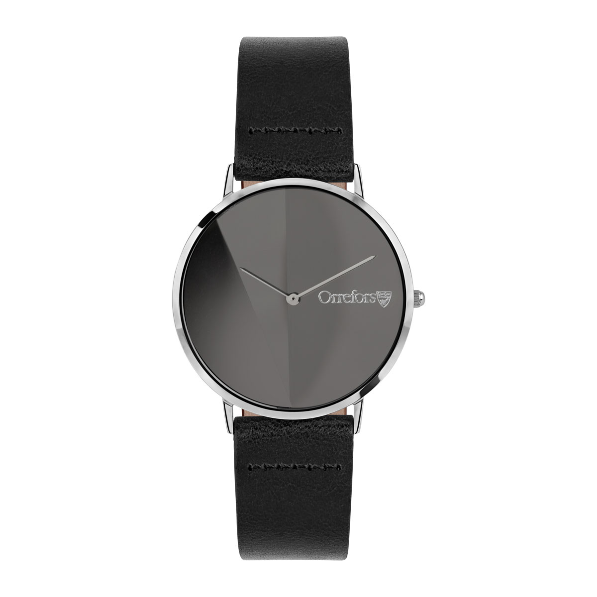 Orrefors Crystal O-Time Black Black Mirror Dial Watch