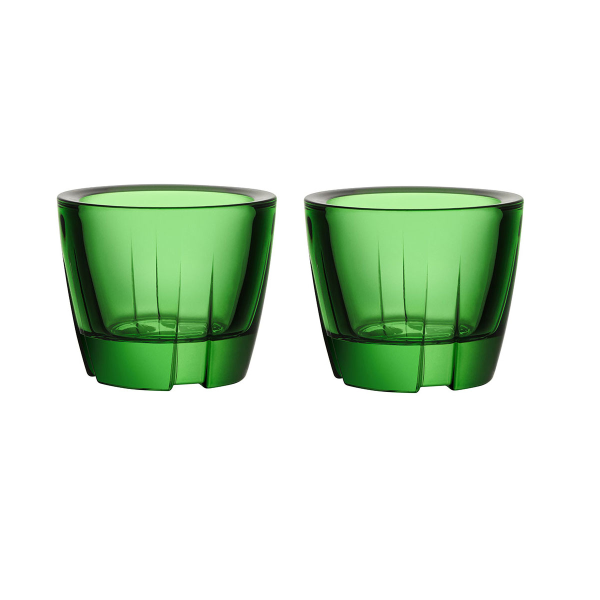 Kosta Boda Bruk Crystal Votive Apple Green Anything Crystal Bowl, Pair