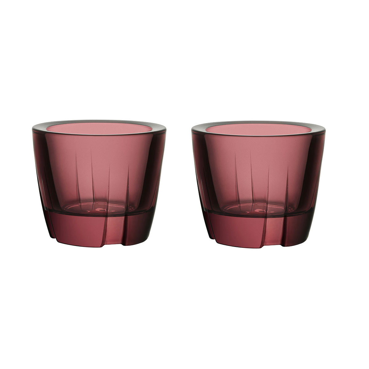 Kosta Boda Bruk Crystal Votive Aubergine Purple Anything Crystal Bowl, Pair