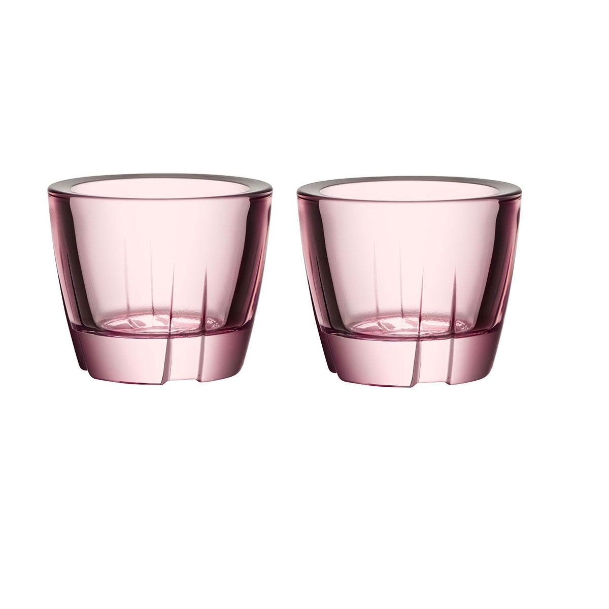 Kosta Boda Bruk Crystal Votive Light Pink Anything Crystal Bowl, Pair