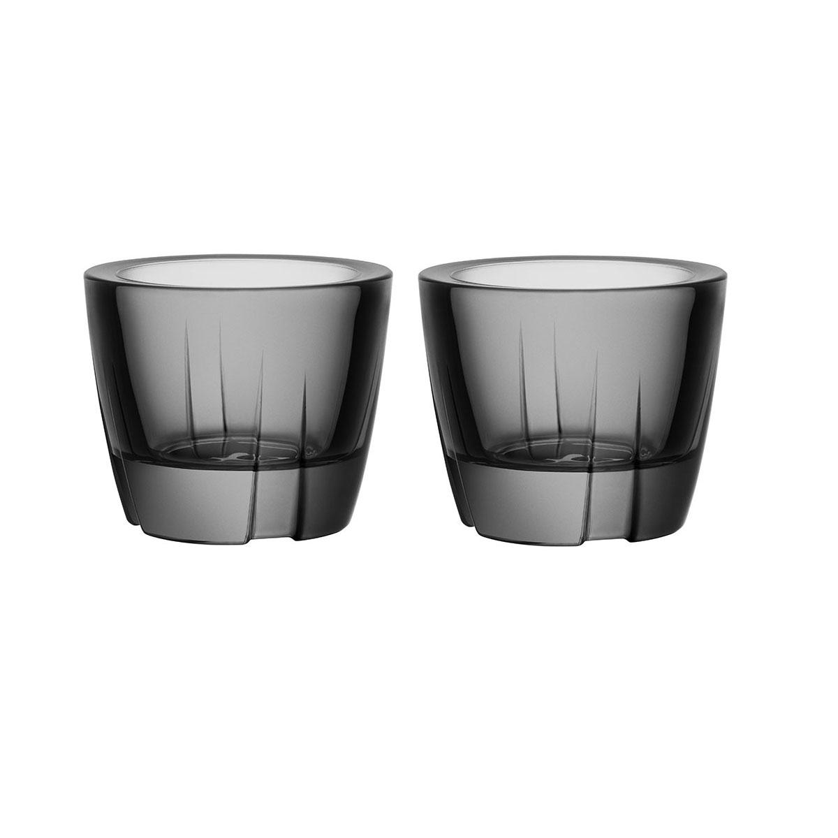 Kosta Boda Bruk Crystal Votive Smoke Grey Anything Crystal Bowl, Pair