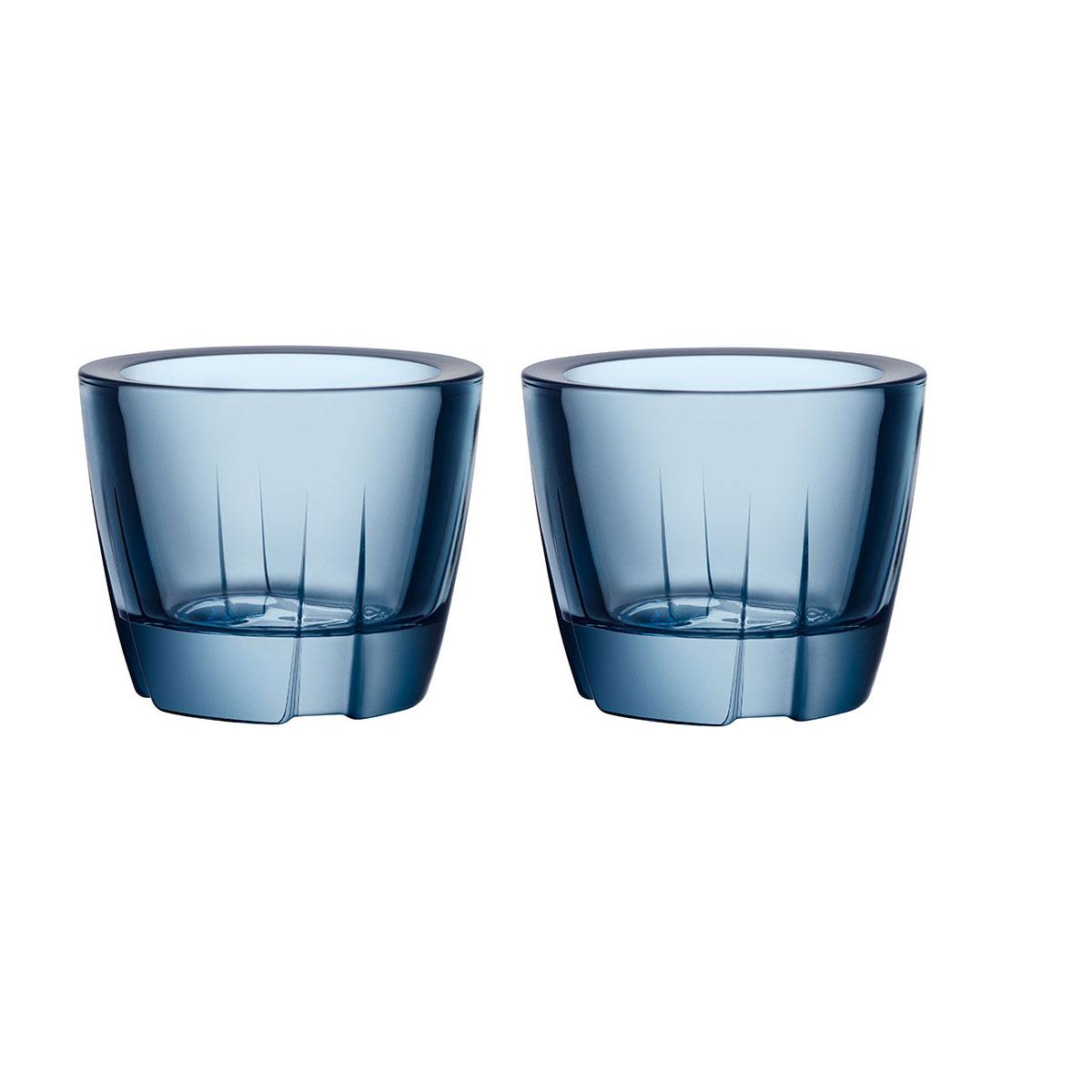Kosta Boda Bruk Crystal Votive Water Blue Anything Crystal Bowl, Pair