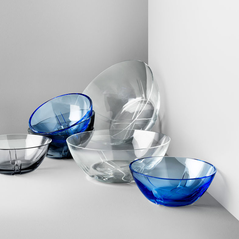 Kosta Boda Bruk Smoke Grey Crystal Bowl, Set of Four