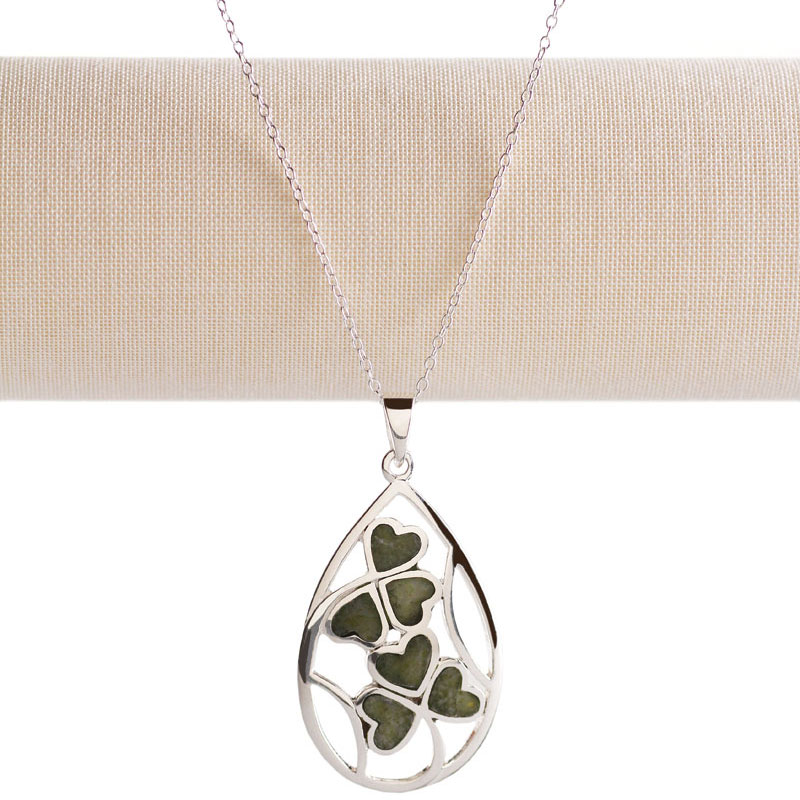 Cashs Ireland, Sterling Silver and Connemara Marble Lucky Shamrocks Pendant Necklace