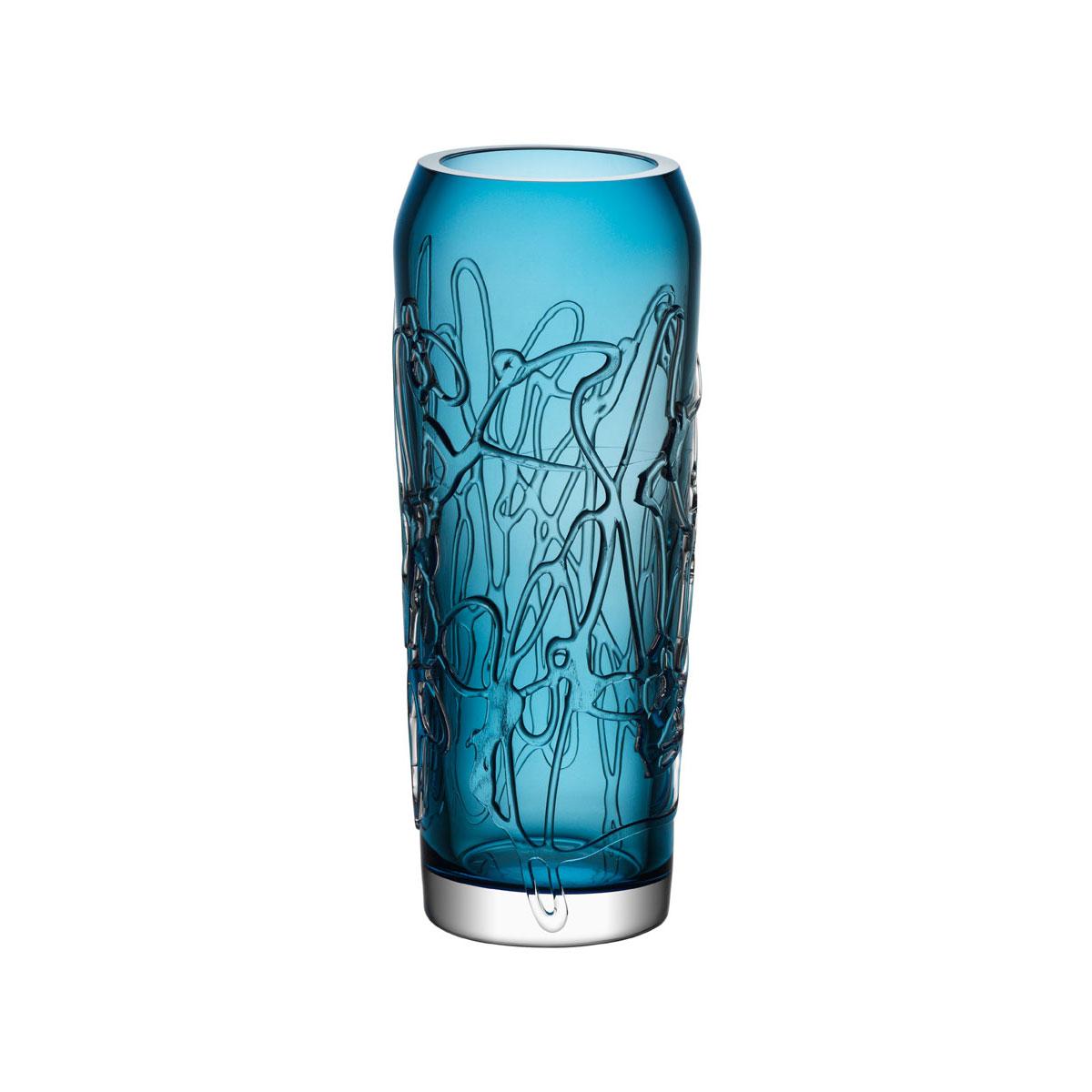 "Kosta Boda Twine 11 3/4"" Blue Crystal Vase"
