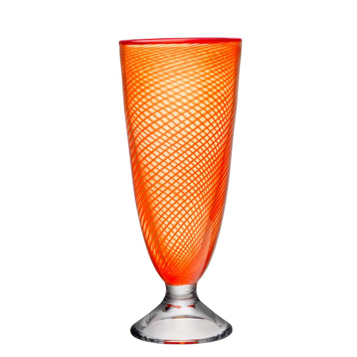 "Kosta Boda Red Rim Orange Footed 10 1/2"" Crystal Vase"