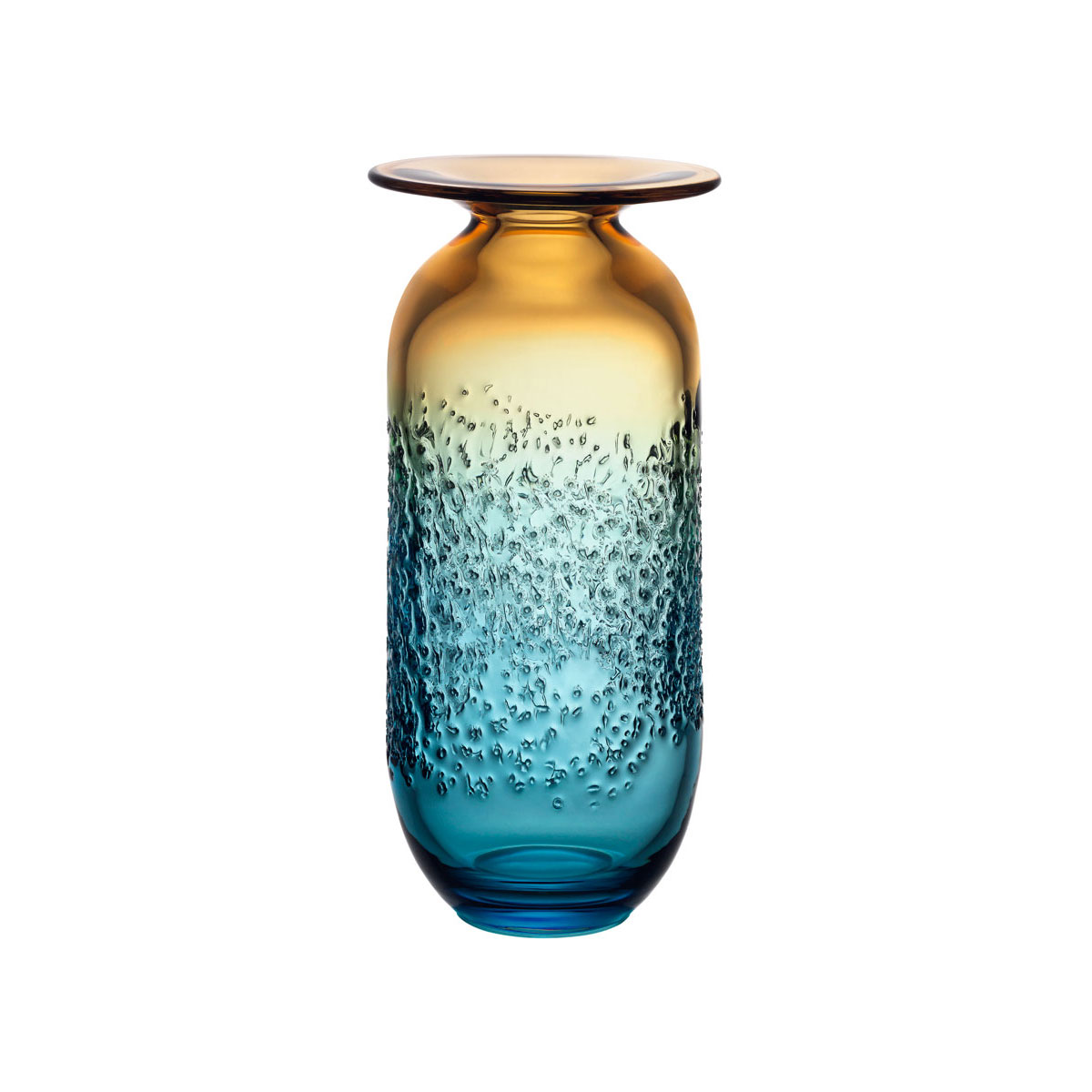 Kosta Boda Aurora Blue and Amber Large Crystal Vase