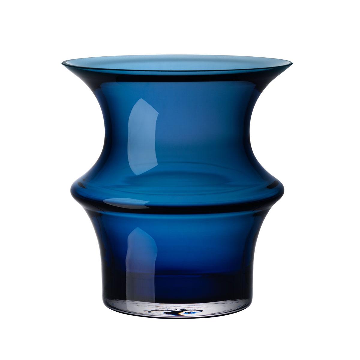 Kosta Boda Pagod Small Vase, Petrol Blue