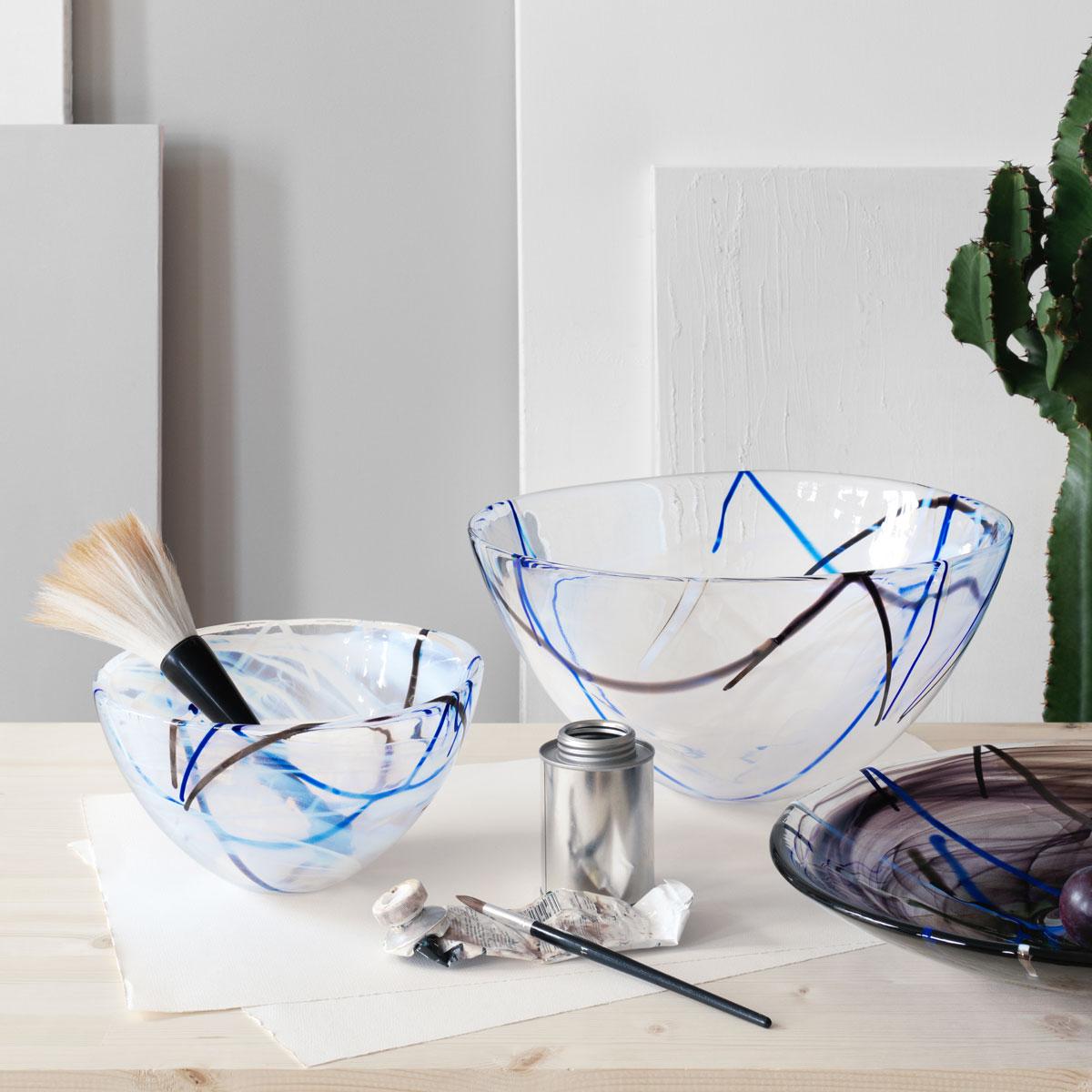 Kosta Boda Contrast Large Crystal Bowl, White