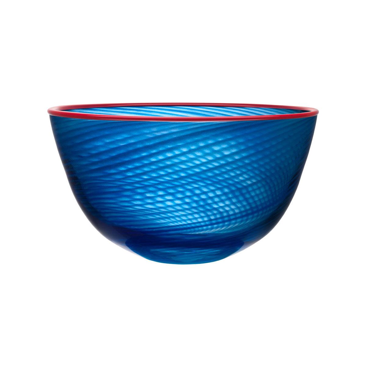 """Kosta Boda Red Rim 15 3/4"""" Crystal Bowl"""