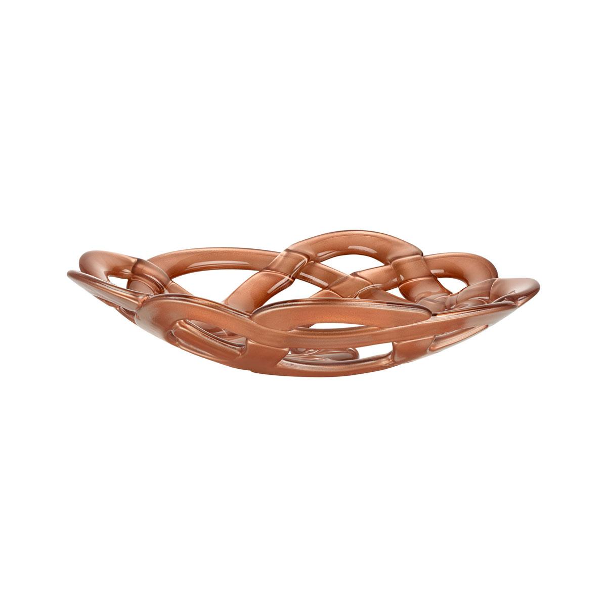 Kosta Boda Basket Large Crystal Bowl, Copper