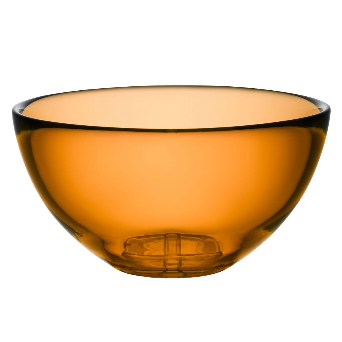 Kosta Boda Bruk Crystal Large Serving Bowl, Amber