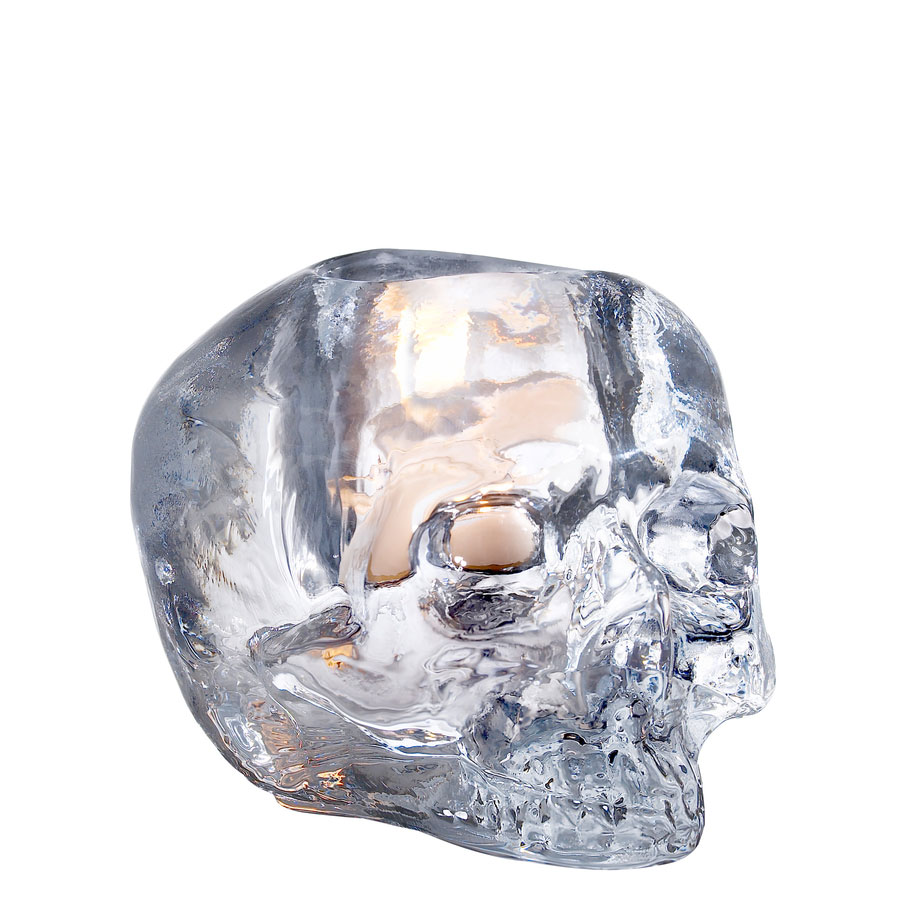Kosta Boda Still Life Skull Crystal Votive, Clear