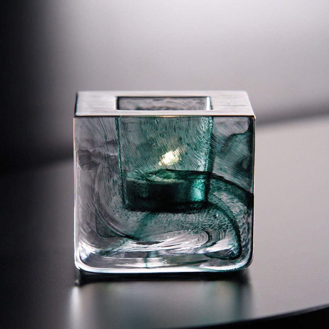 Kosta Boda Brick Crystal Votive, Green