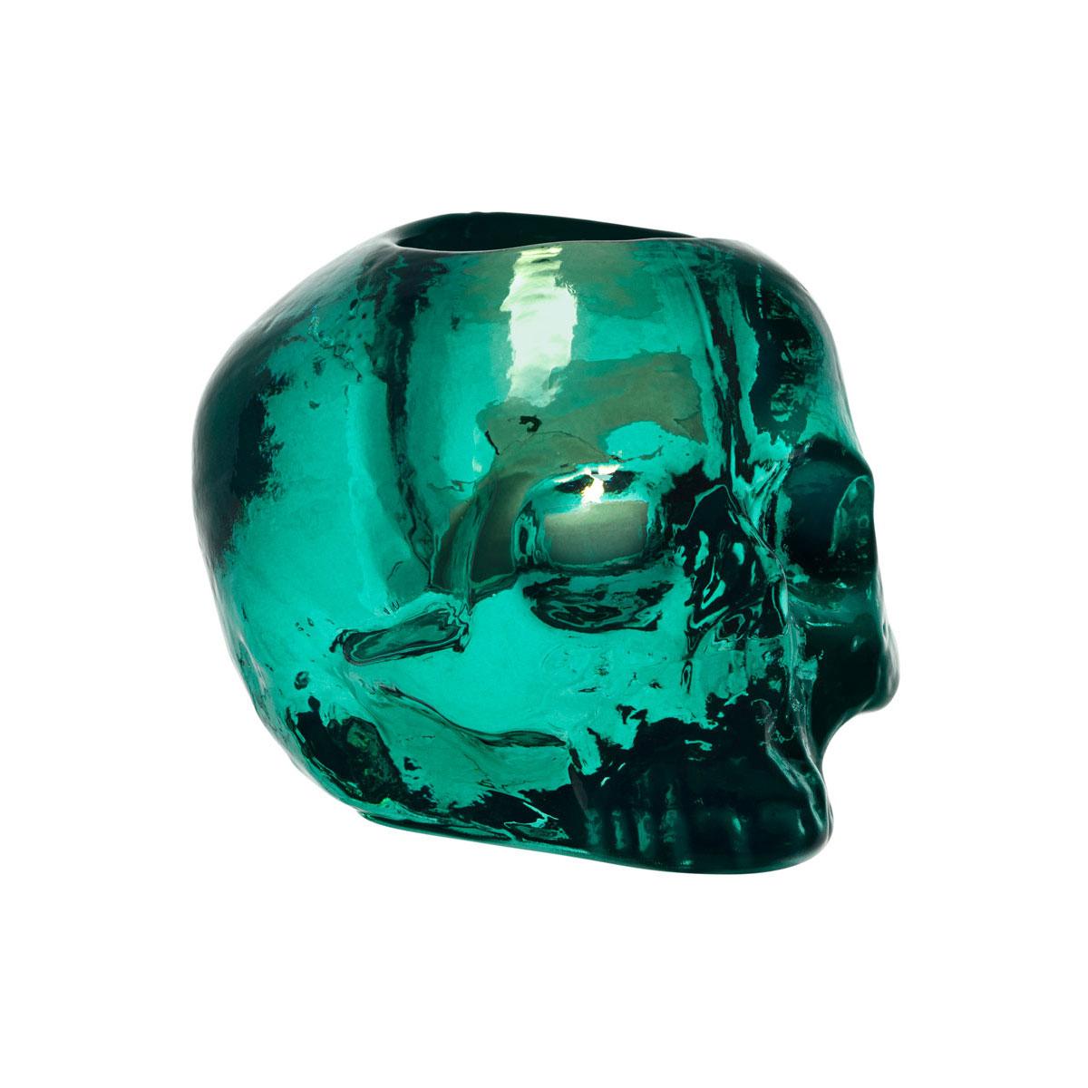 Kosta Boda Still Life Skull Crystal Votive, Green
