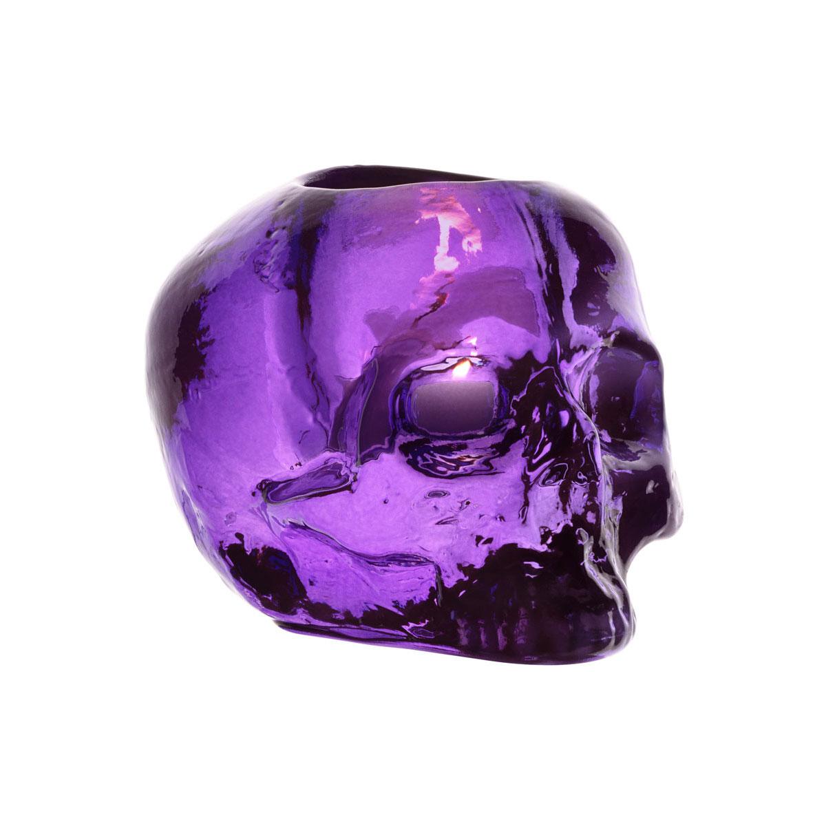 Kosta Boda Still Life Skull Crystal Votive, Purple