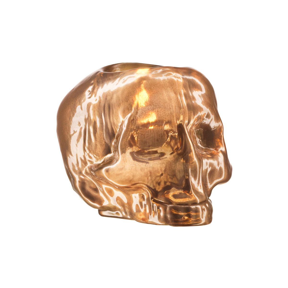 Kosta Boda Still Life Skull Crystal Votive, Copper