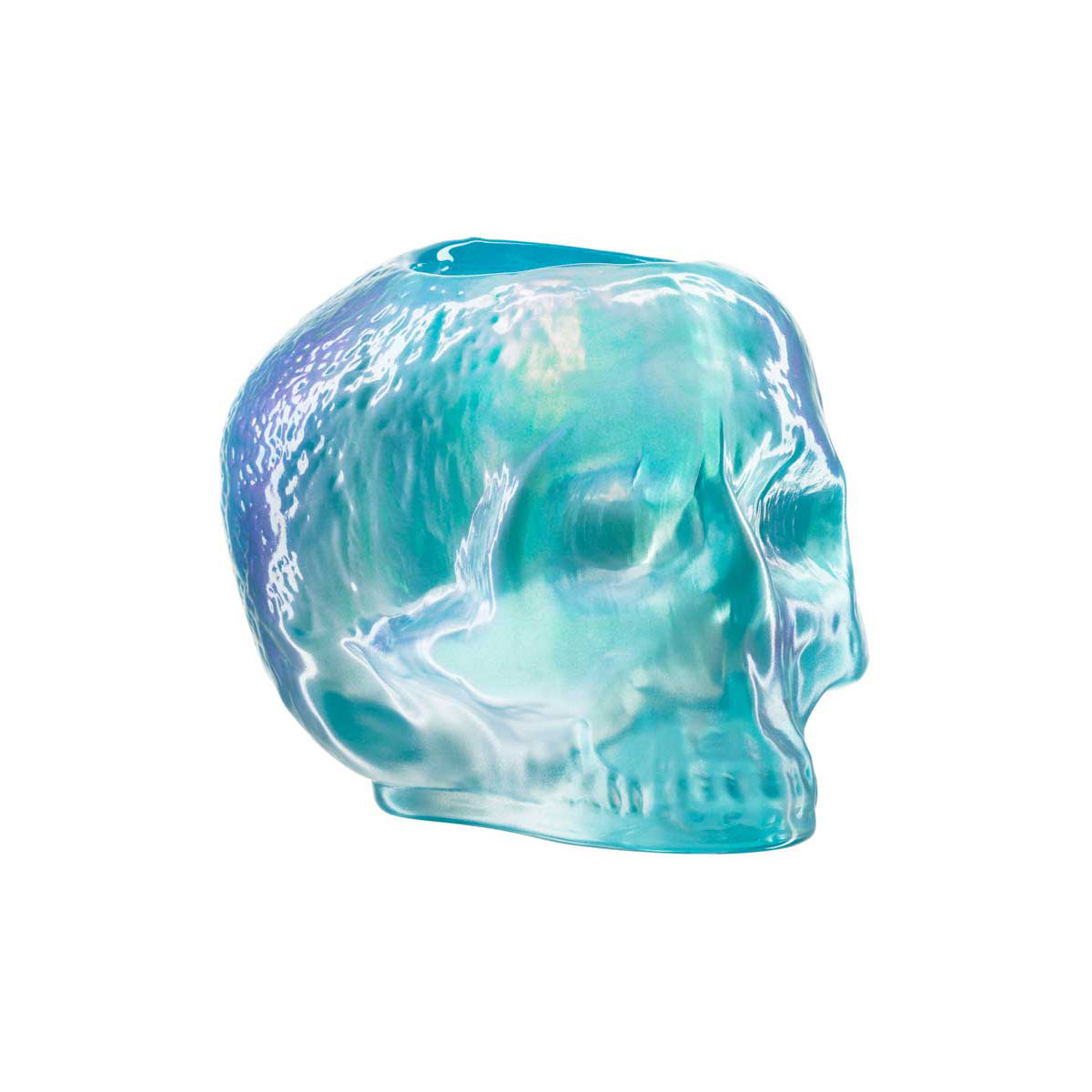 Kosta Boda Still Life Skull Crystal Votive, Light Blue
