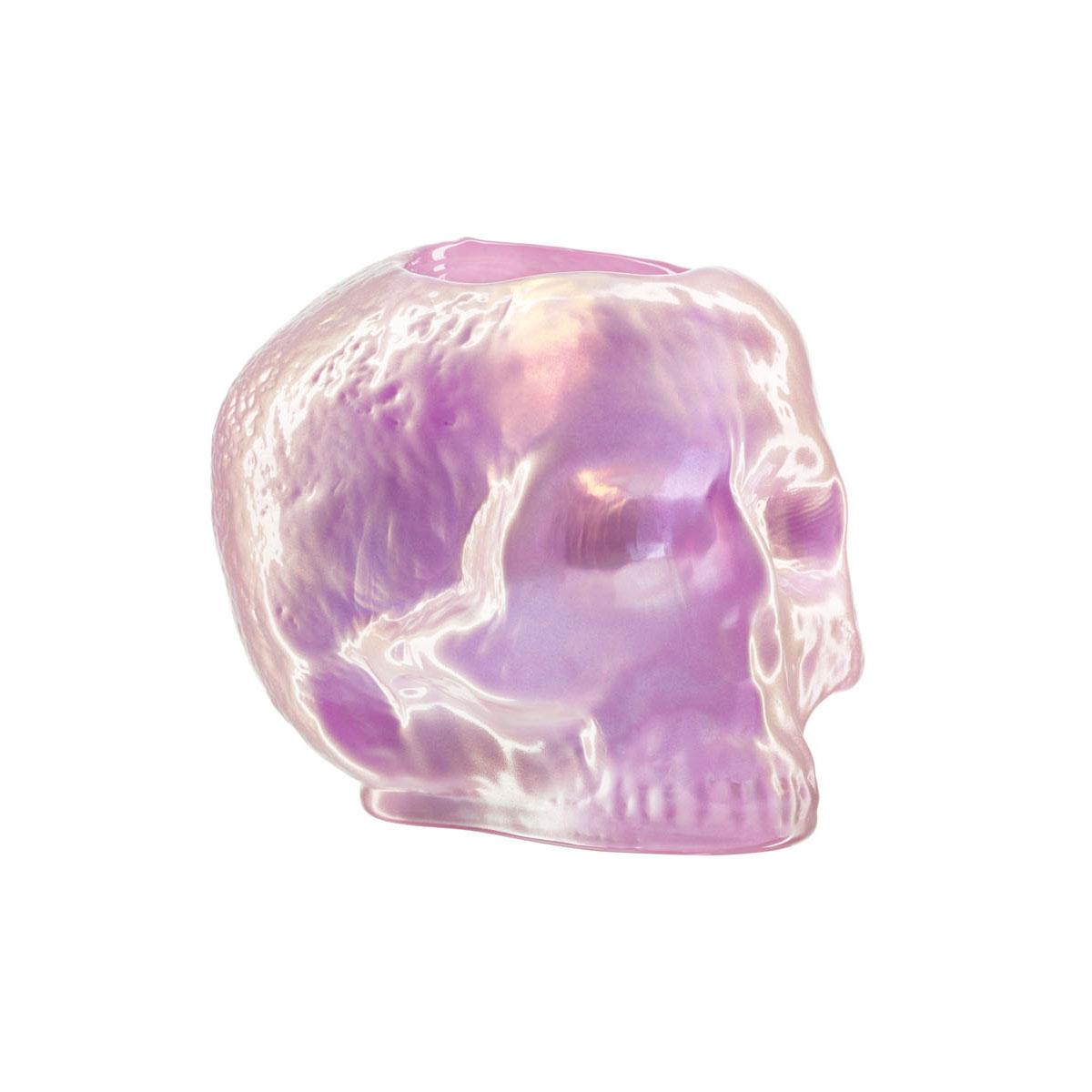 Kosta Boda Still Life Skull Crystal Votive, Light Pink