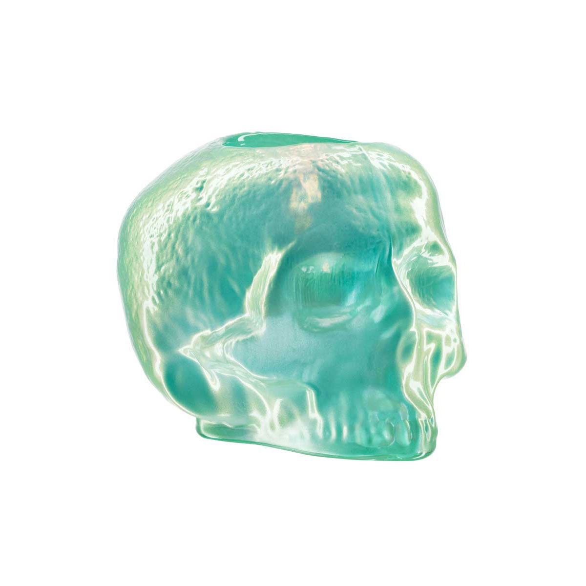 Kosta Boda Still Life Skull Crystal Votive, Light Green