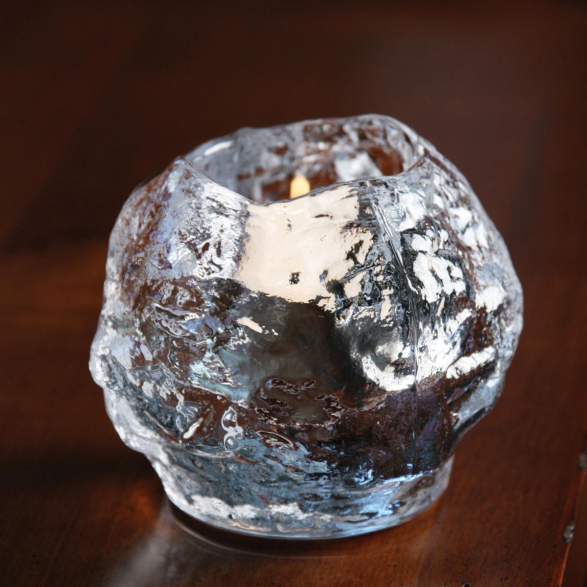 Kosta Boda Snowball Crystal Votive, Pair