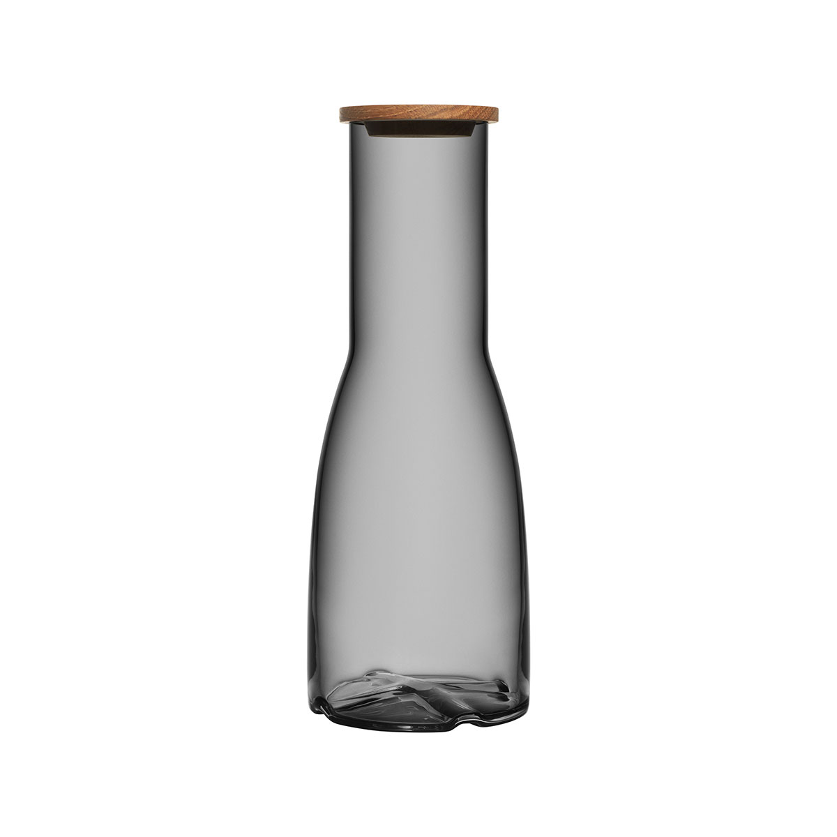 Kosta Boda Bruk Crystal Carafe with Oak Lid, Smoke Grey