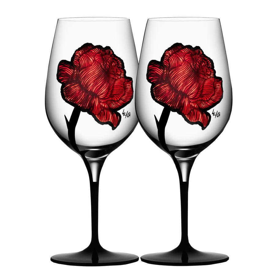 Kosta Boda Tattoo Crystal Wine Glasses, Pair