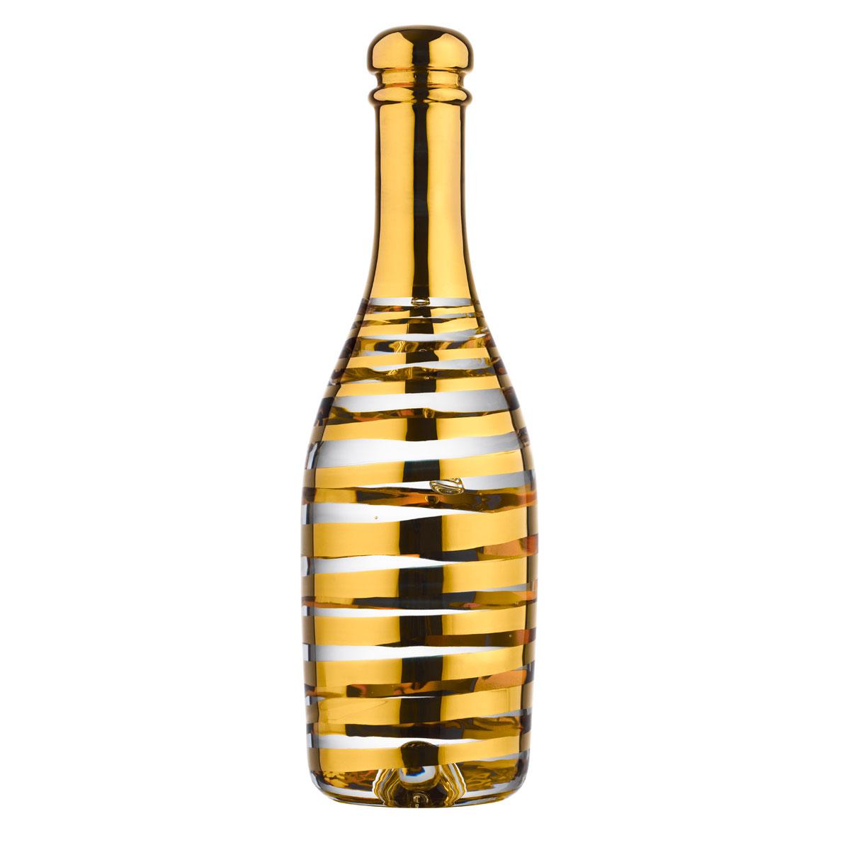 Kosta Boda Celebrate Crystal Champagne Bottle, Gold