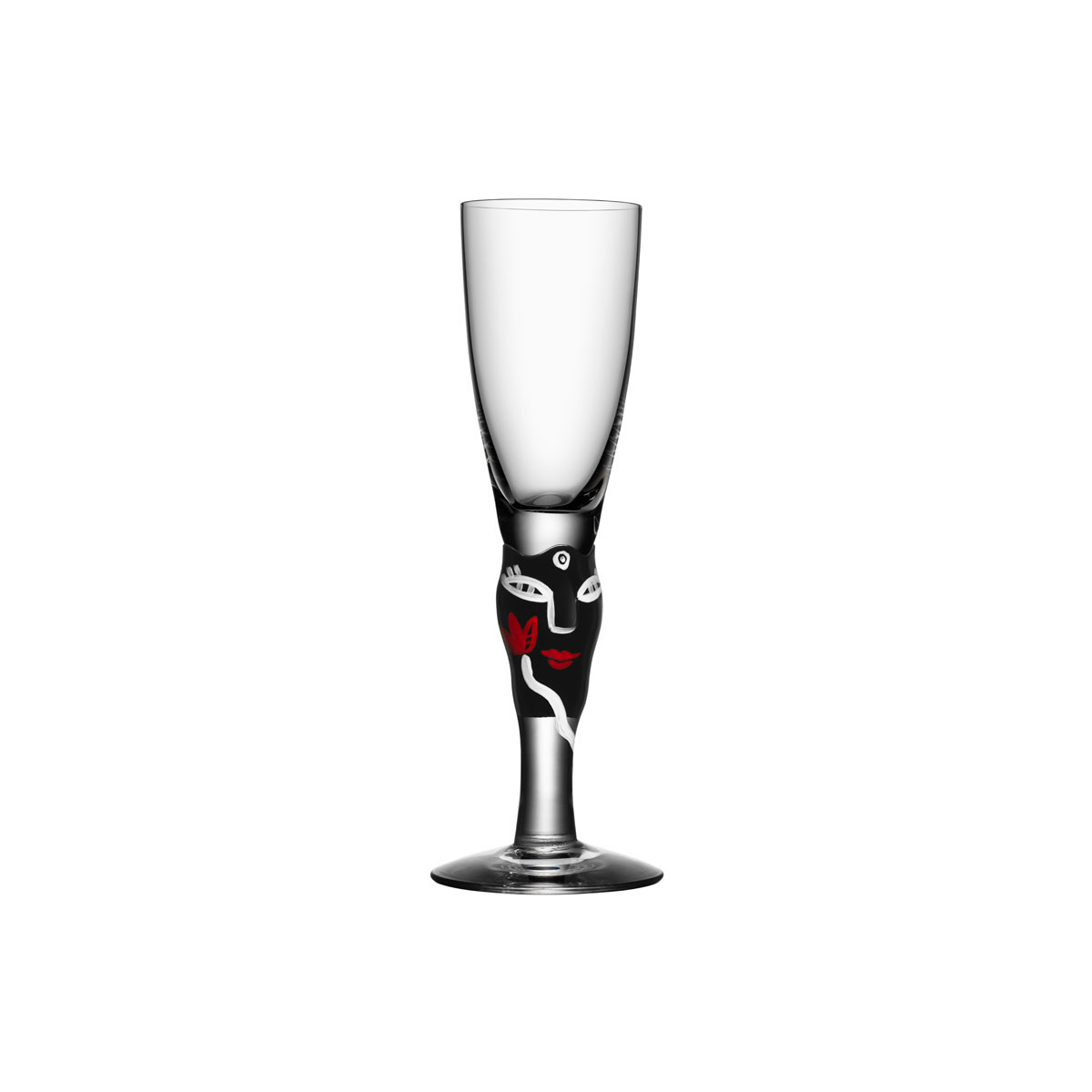 Kosta Boda Open Minds Crystal Shot Glass, Black, Single